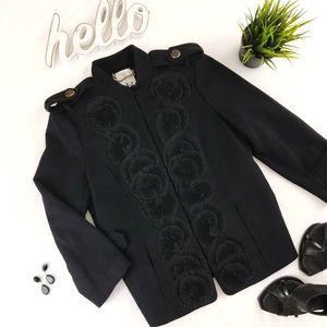 TIBI Wool Military Jacket with Appliqué Black 2
